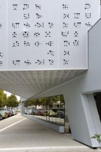 façade textile médiathèque
