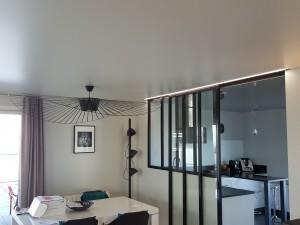 plafond tendu avec lustre et profil led
